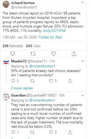 柳叶刀主编在个人主页上表示2019-nCoV武汉肺炎的死亡率目前是11%。